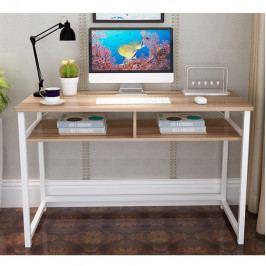 Tempo Kondela PC stůl HARALD - světlý ořech/bílá