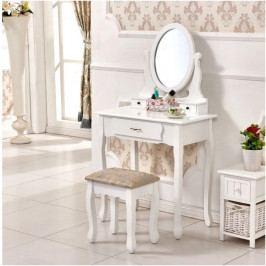 Tempo Kondela Toaletní stolek s taburetem LINET - bílá / stříbrná