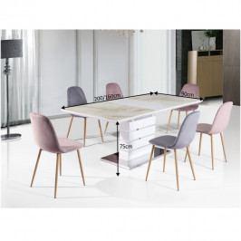 Tempo Kondela Jídelní stůl LAJOS - mramorový vzor / bílá HG