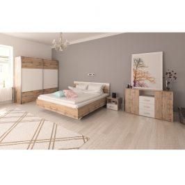Tempo Kondela Ložnicový komplet (postel 180x200 cm), dub Wotan / bílá, GABRIELA