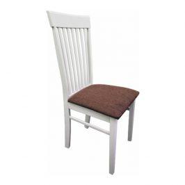 Tempo Kondela Židle ASTRO NEW - bílá / hnědá látka Židle do kuchyně