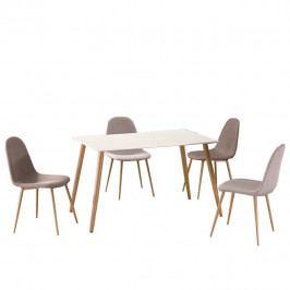 Tempo Kondela Jídelní stůl KUMAR - bílý matný / vzor dřevo