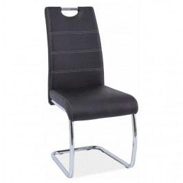 Tempo Kondela Židle Abira New - černá / světlé šití Židle do kuchyně