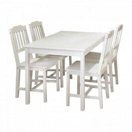 Idea Stůl + 4 židle 8849 bílý lak Jídelní sety