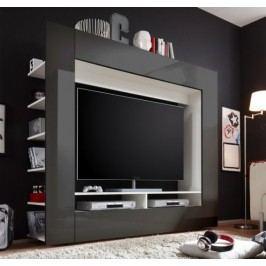 Tempo Kondela Obývací stěna MEDI TV - bílá/černá HG
