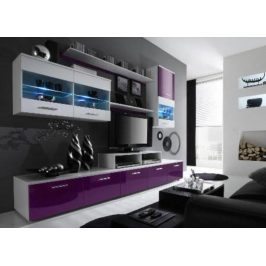 Cama Obývací stěna Logo II - bílá/fialová