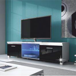 Tempo Kondela RTV stolek LUGO 2 - bílá / černý extra vysoký lesk HG