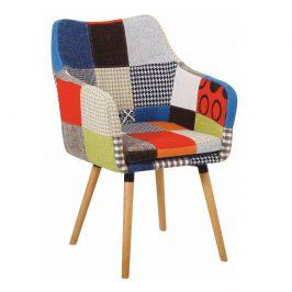 Tempo Kondela Křeslo LANDOR, barevný patchwork / buk Židle do kuchyně