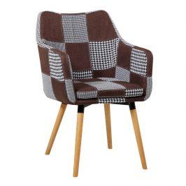 Tempo Kondela Křeslo LANDOR, hnědý a černý patchwork, buk Židle do kuchyně