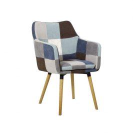Tempo Kondela Křeslo Landor - buk, modrá / béžová vzor patchwork Židle do kuchyně