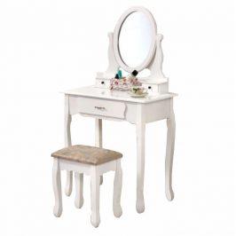 Tempo Kondela Toaletní stolek s taburetem LINET New - bílá / stříbrná