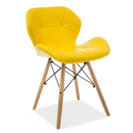 Casarredo Jídelní židle MATIAS žlutá ekokůže/buk
