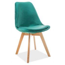 Casarredo Jídelní čalouněná židle DIOR VELVET zelená/buk