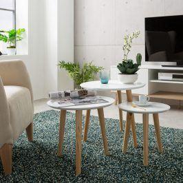 Idea Odkládací stolek IMOLA 3 bílý/borovice