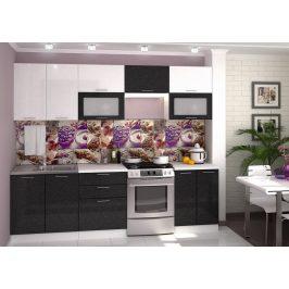 Casarredo Kuchyně VALERIA 260 bílá/černý metalic