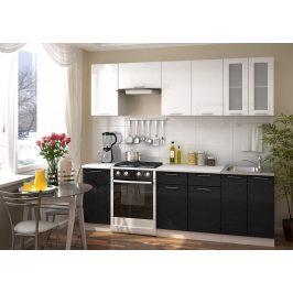 Casarredo Kuchyně VALERIA 240 bílá/černý metalic