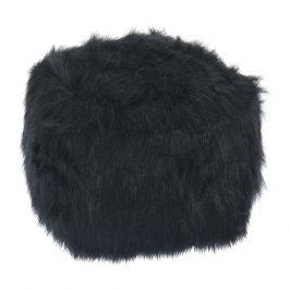 Tempo Kondela Taburet AZENE - umělá kožešina černá Taburety do obýváku