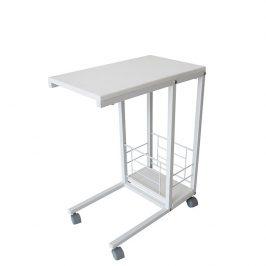 Tempo Kondela Příruční stolek na kolečkách CARMEL - bílý