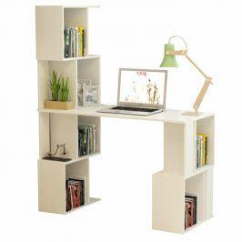 Tempo Kondela PC stůl s regálem FLOKI NEW - bílá