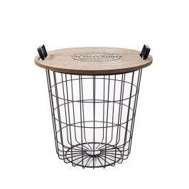 Tempo Kondela Příruční stolek NANDO - přírodní vzor/černá