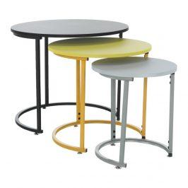 Tempo Kondela Set tří příručních stolků RONELT NEW - černá/žlutá/šedá