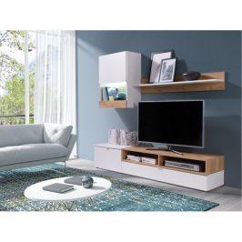 Tempo Kondela Obývací stěna ROSO - bílá/dub zlatý Obývací stěny