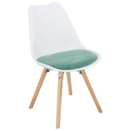 Tempo Kondela Jídelní židle Semer New - mentolová sametová látka / bílý plast / buk