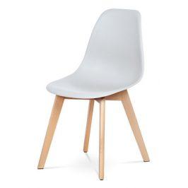 Autronic Jídelní židle CT-611 GREY - šedý plast / masiv buk Židle do kuchyně