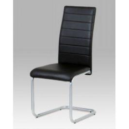 Autronic Jídelní židle DCL-102 BK - koženka černá / šedý lak