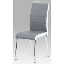 Autronic Jídelní židle DCL-403 GREY - koženka šedá/bílý bok