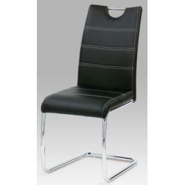Autronic Jídelní židle Robbie BK - koženka černá s bílým prošitím