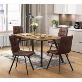 Idea Jídelní stůl BERGEN dub + 4 židle BERGEN hnědé mikrovlákno