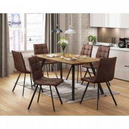 Idea Jídelní stůl BERGEN dub + 6 židlí BERGEN hnědé mikrovlákno