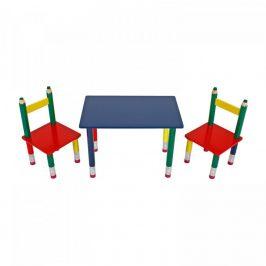 Idea Dětský set stůl + 2 židle PASTELKY