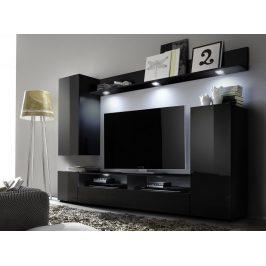 Casarredo Obývací stěna LINE 1 černá/černý lesk