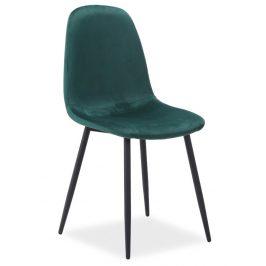Casarredo Jídelní čalouněná židle FOX VELVET zelená/černá
