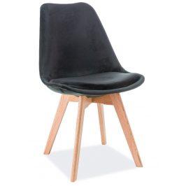 Casarredo Jídelní čalouněná židle DIOR VELVET černá/dub