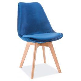 Casarredo Jídelní čalouněná židle DIOR VELVET modrá/dub
