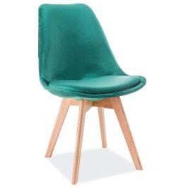 Casarredo Jídelní čalouněná židle DIOR VELVET zelená/dub