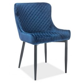 Casarredo Jídelní čalouněná židle COLIN B VELVET modrá/černá