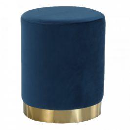 Tempo Kondela Taburet ALAZ - modrá Velvet látka/gold chrom-zlatá