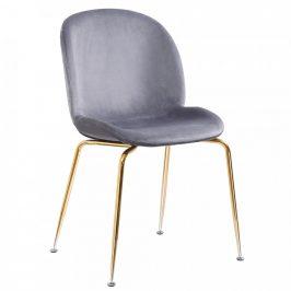 Tempo Kondela Židle PORTIA, šedohnědá TAUPE/chrom-zlatá