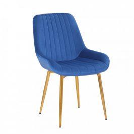 Tempo Kondela Židle PERLOS, modrá/chrom-zlatý