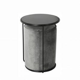 Tempo Kondela Set stolek a taburet LEILA - šedá Velvet látka/tmavě šedá