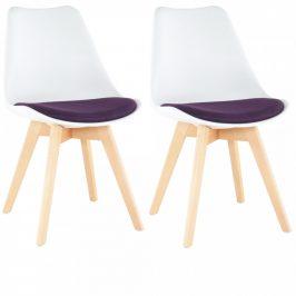 Tempo Kondela Židle DAMARA, 2 kusy - bílá/fialová