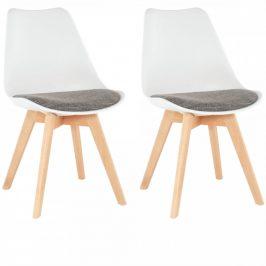 Tempo Kondela Židle DAMARA, 2 kusy - bílá/hnědá
