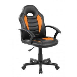 Tempo Kondela Kancelářské křeslo MADAN - ekokůže černá/oranžová