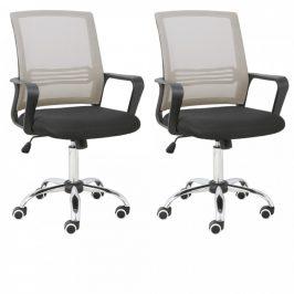 Tempo Kondela Set 2 kusů kancelářské židle APOLO - šedohnědá Taupe/černá