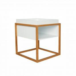 Tempo Kondela Příruční stolek HAGAN - bílá/přírodní