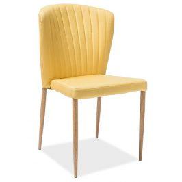Casarredo Jídelní čalouněná židle POLLY žlutá/dub